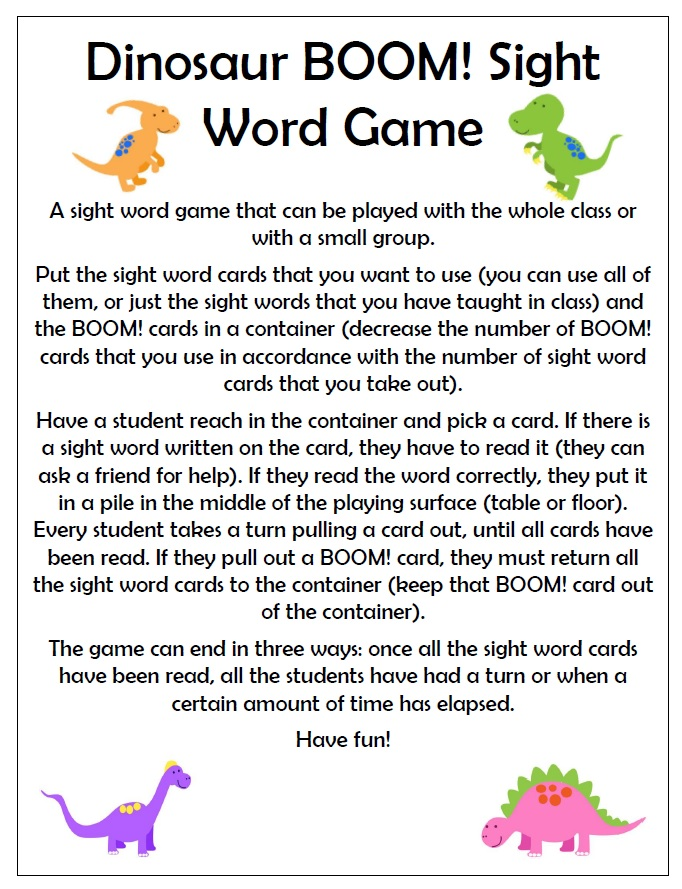 Dinosaur Boom Instructions
