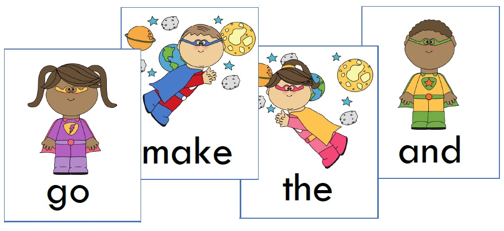 superhero sight word cards preview