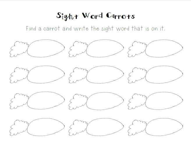 sight word carrots preview