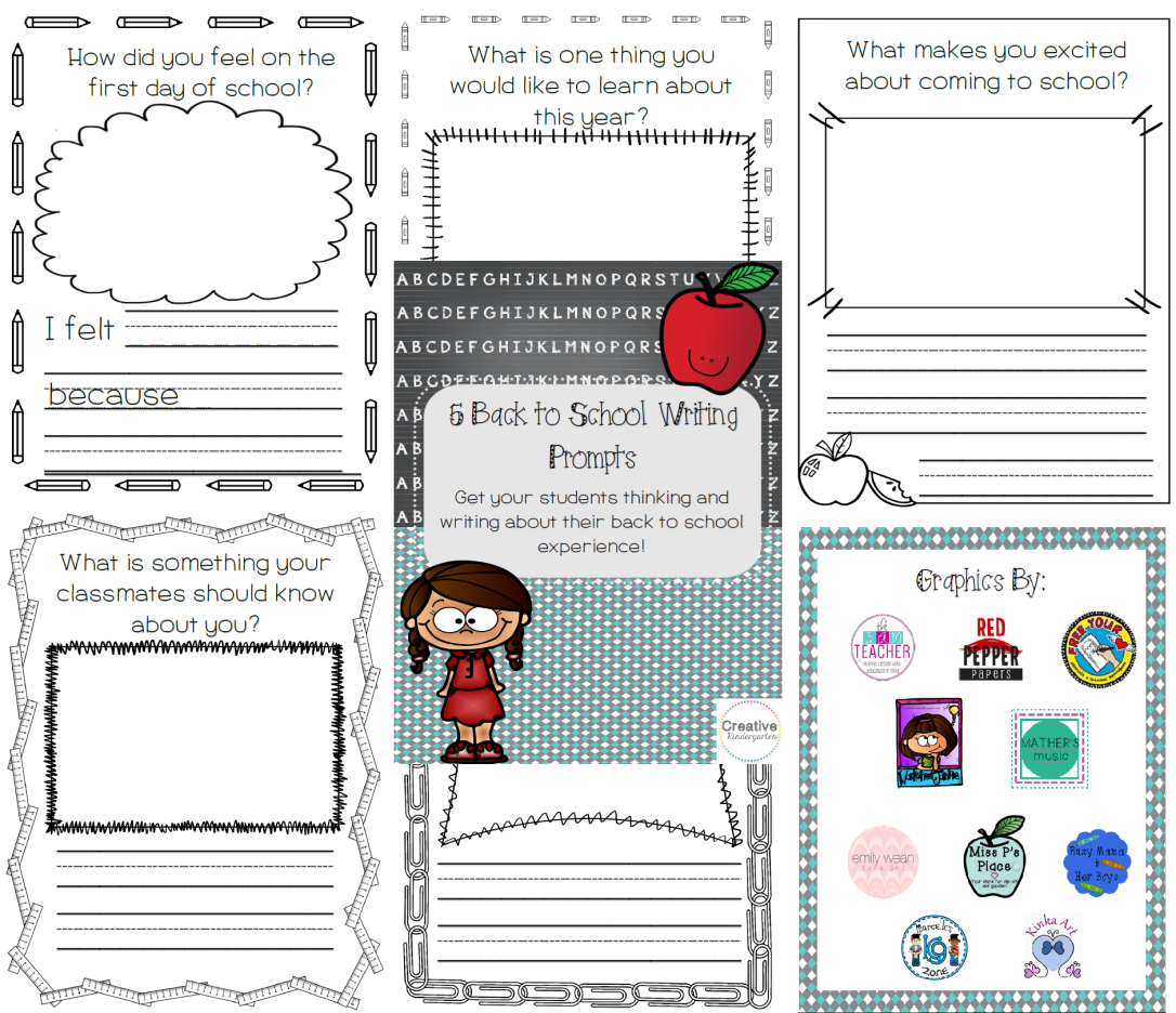 Back to school writing prompt preview
