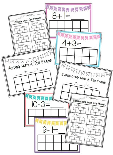 Adding and Subtracting with a ten frame pinterest preview