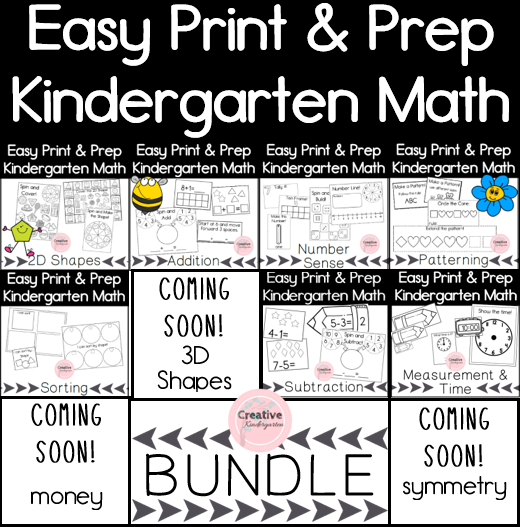Easy Print and Prep Kindergarten Math Centers Bundle