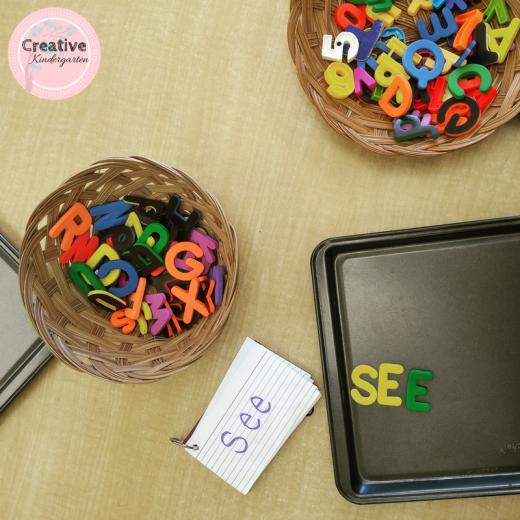 magnetic letters sight word literacy center for kindergarten