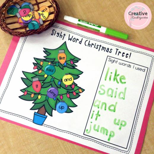 Sight Word Christmas Tree Literacy Activity Creative Kindergarten