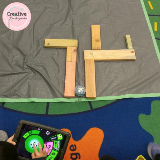 Building mazes for a Sphero in the kindergarten classroom.