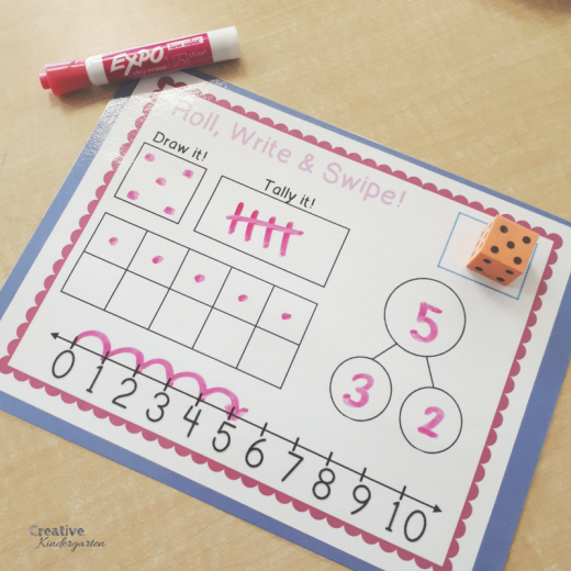 Roll, Write and Swipe dice worksheets for kindergarten math centers. reinforce number sense with dot patterns, ten frames, number bonds, number line and tally marks.
