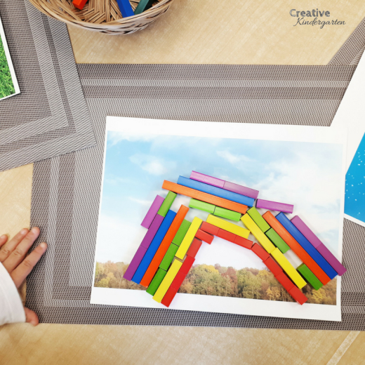 Use Cuisenaire rods to make images at a loose parts center for kindergarten. fun provocation activity