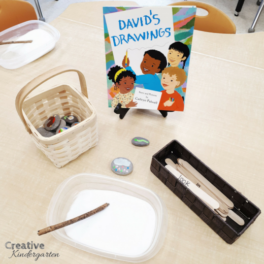 Salt tray literacy center for kindergarten. Practice sight word recognition and spelling with this fun, play-based center.