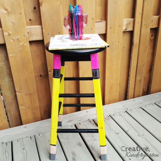 DIY pencil stool for the classroom. Paint your own stool to display in your classroom. So cute and easy to make