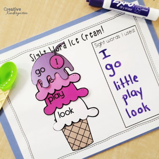 Sight Word Ice Cream literacy activity for kindergarten centers. A fun way to practice sight word recognition and formation.