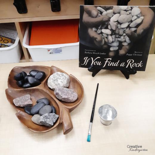 Painting rocks fine motor center for kindergarten literacy, math or art center