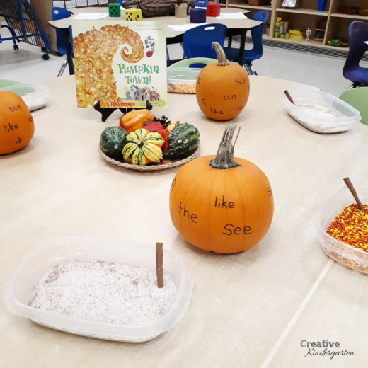 Salt tray sight word literacy center. Fall-themed centers and activities for you kindergarten classroom. Perfect for autumn activities for hands-on, fun, play-based learning. Includes a free download for a fun Halloween gift for your students.