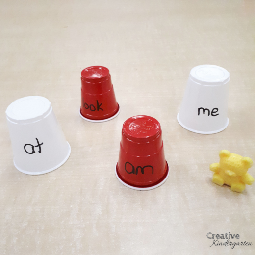 Bear cave sight word game for kindergarten. Fun literacy center to practice sight word recognition and spelling,