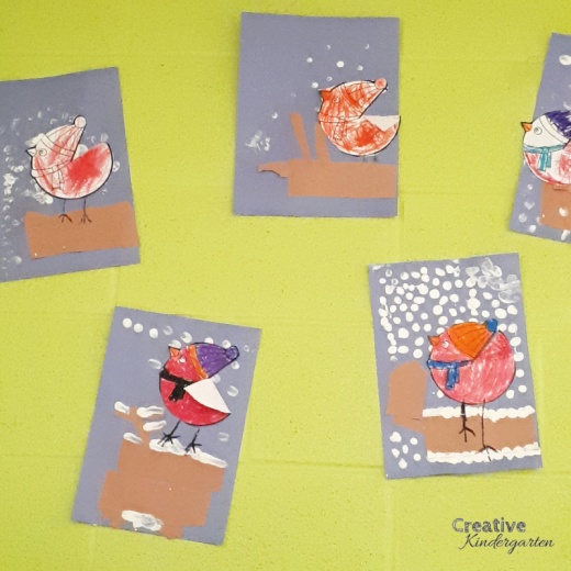 Snowy Birds winter art project for kindergarten. Fun artwork activity