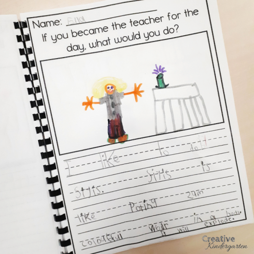 Community helper class book for kindergarten students writing activity. If students became the teacher is a fun writing prompt for creative writing.
