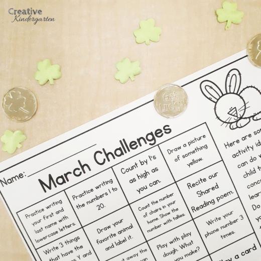 Kindergarten homework challenges to work on skills at home with families. A perfect way to involve families in their child's learning in an easy and fun way!