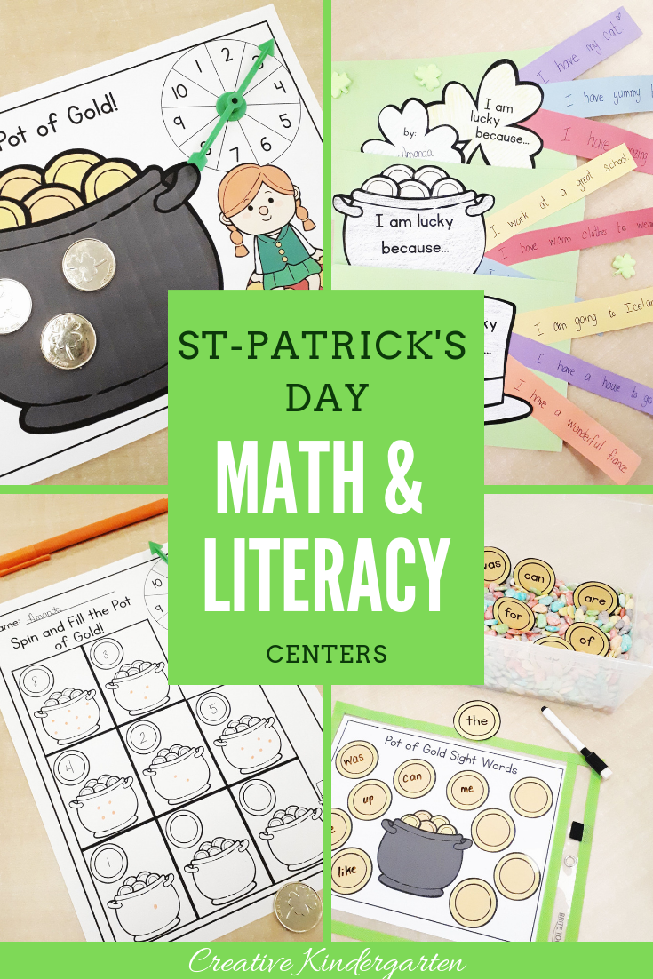 St-Patrick's Day math and literacy centers for kindergarten. Have fun with these hands-on activities for Saint-Patrick's Day and work on counting, number formation, number recognition, creative writing, and sight words with these themed activities.