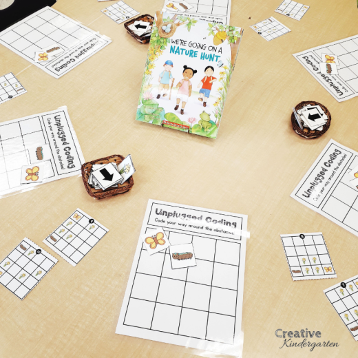 Unplugged coding activity for kindergarten. Practice directional coding with this no-tech center that will help students their coding skills. Great spring activity, that will have students code the caterpillar to the butterfly.